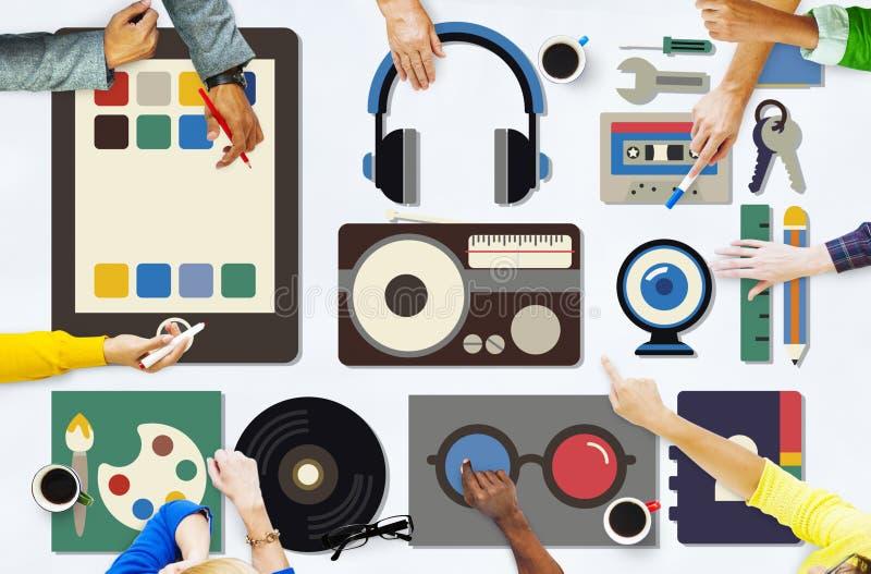 Medialnych filmów Radiowa muzyka Wytłacza wzory pojęcie zdjęcia royalty free