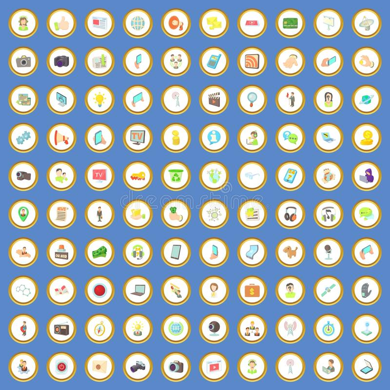 100 medialnych ikon ustawiają kreskówka wektor ilustracja wektor