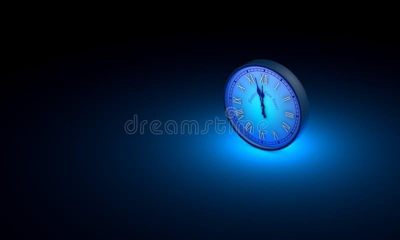 Medianoche, Año Nuevo Espacio y tiempo Un reloj circular azul 3d stock de ilustración