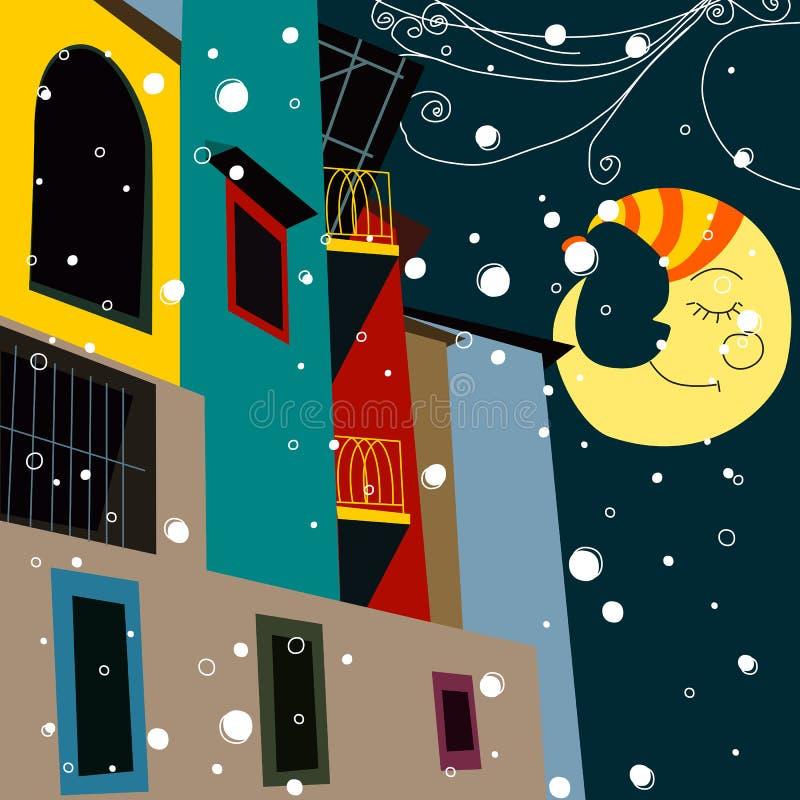 Medianoche hermosa de la Navidad en la ciudad stock de ilustración