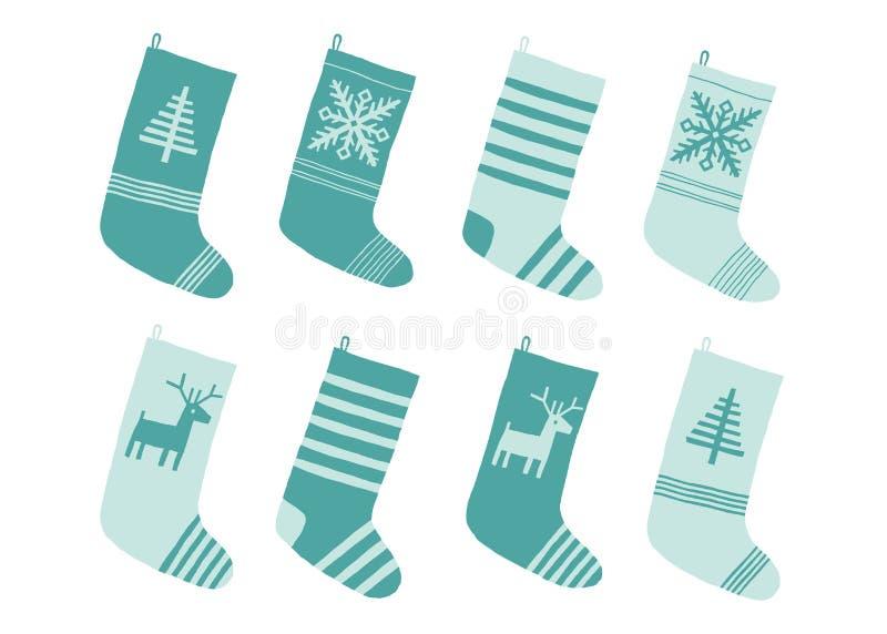 Medias azules de la Navidad Calcetines estilizados del invierno Sistema de medias decorativas de la Navidad con los ornamentos Fe stock de ilustración