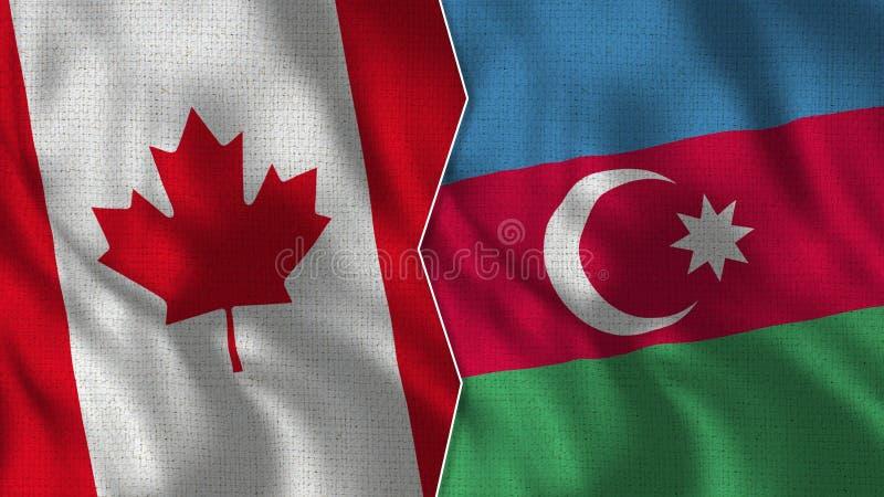 Medias banderas de Canadá y de Azerbaijan junto fotografía de archivo libre de regalías