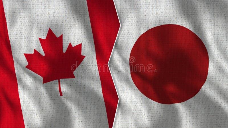 Medias banderas de Canadá y de Japón junto fotografía de archivo