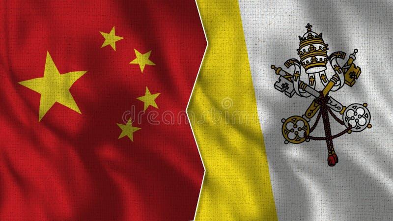 Medias banderas de China y del Vaticano junto libre illustration
