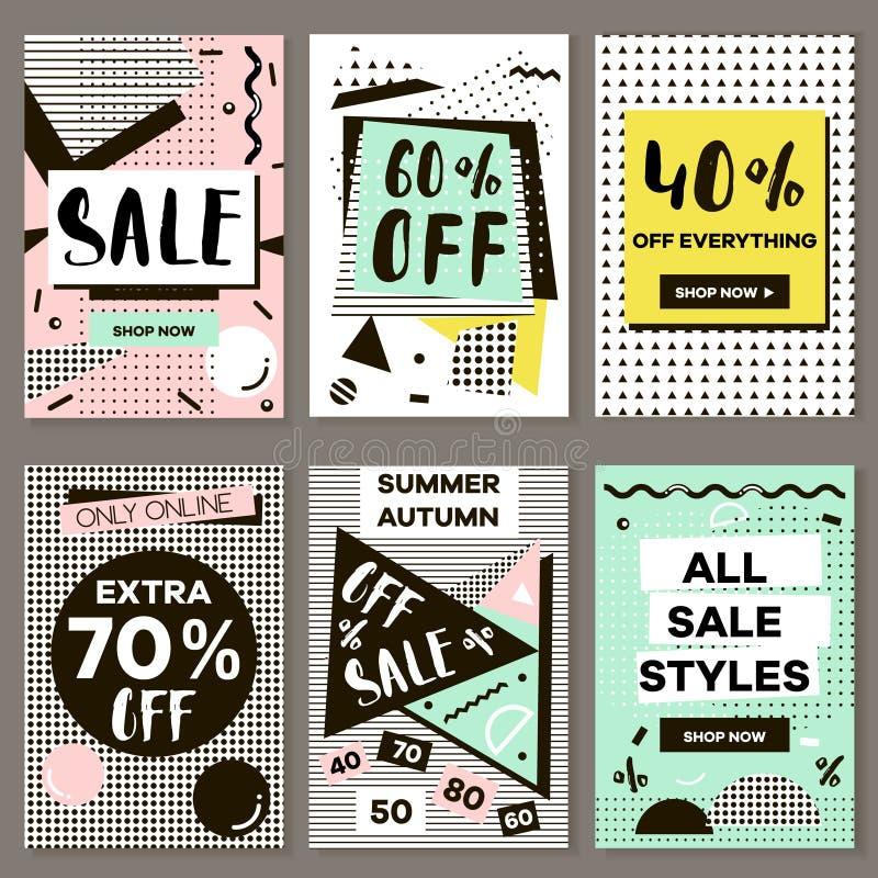 Medias banderas para las compras en línea, banderas móviles del sitio web, carteles, correo electrónico y diseños del hoja inform ilustración del vector