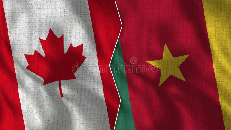 Medias banderas TogetherBenin de Canadá y del Camerún imagenes de archivo