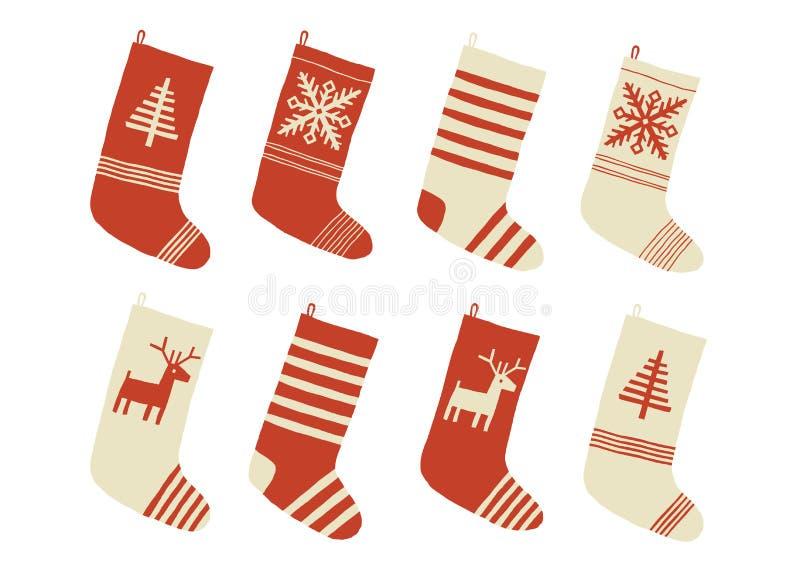 Medias de la Navidad Diversa colección colorida y adornada tradicional de las medias o de los calcetines del día de fiesta Año Nu libre illustration