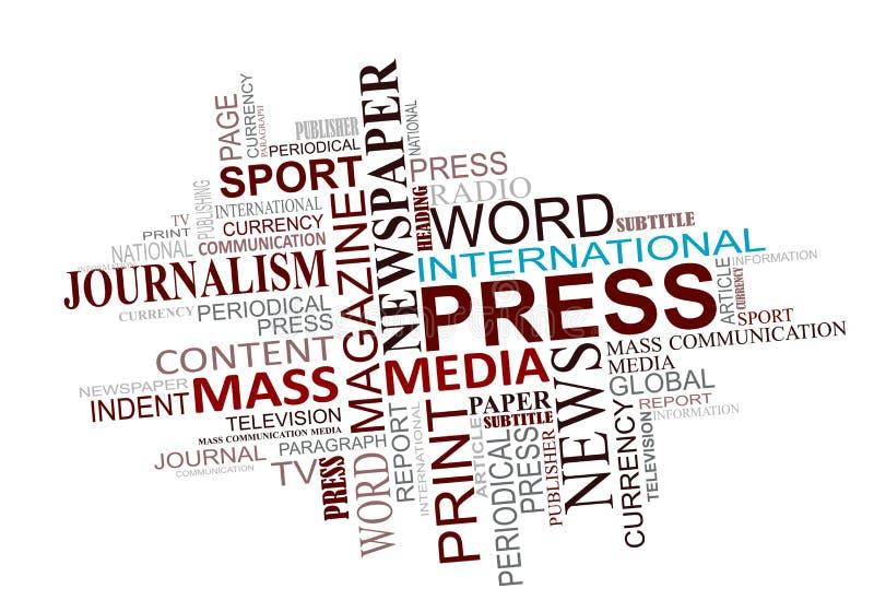 Medias et nuage d'étiquettes de journalisme illustration stock