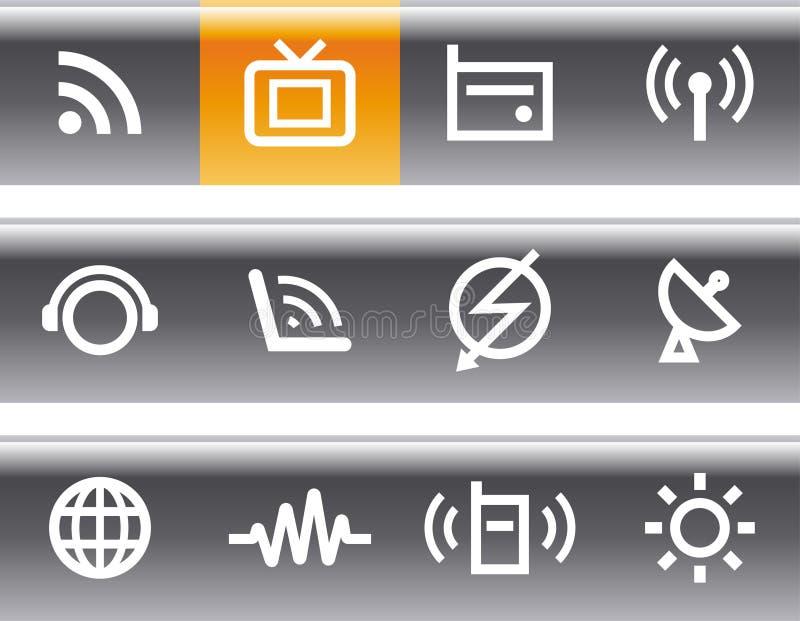 Medias et transmissions - graphismes de vecteur réglés illustration de vecteur