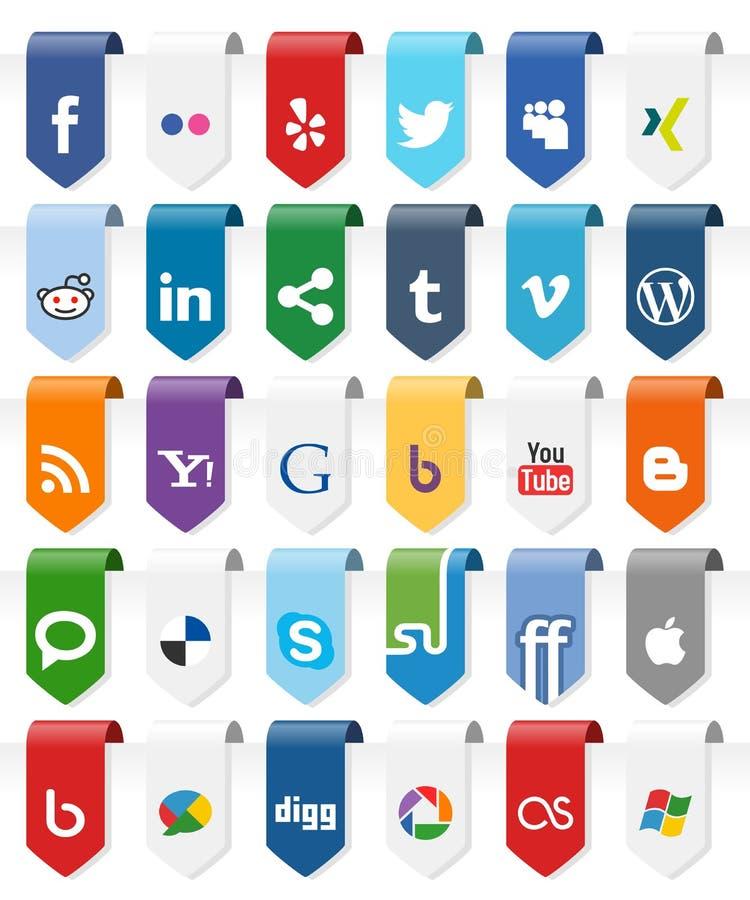 Medias etiquetas verticales sociales con los iconos [1] stock de ilustración