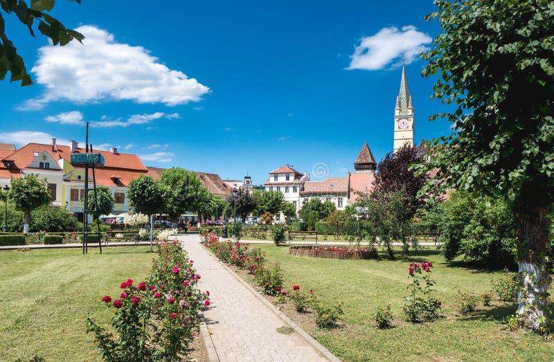 Medias Romania city center. Old Saxon village in Transylvania stock images