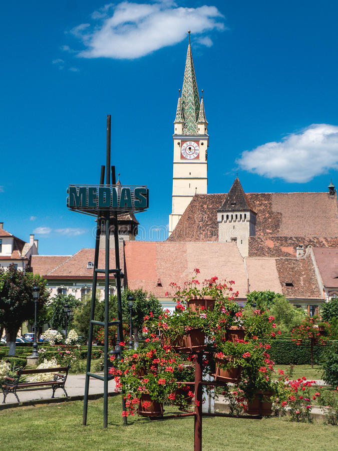 Medias Romania city symbol. Old Saxon village in Transylvania royalty free stock photo