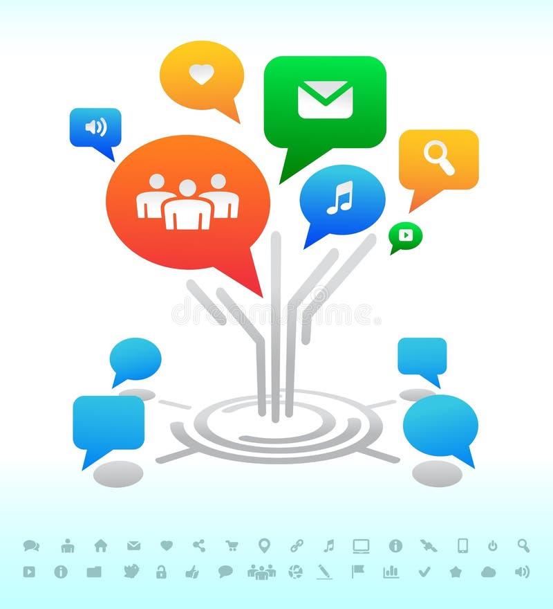 Medias sociaux. Bulles de causerie de forum d'arbre. Graphismes illustration de vecteur