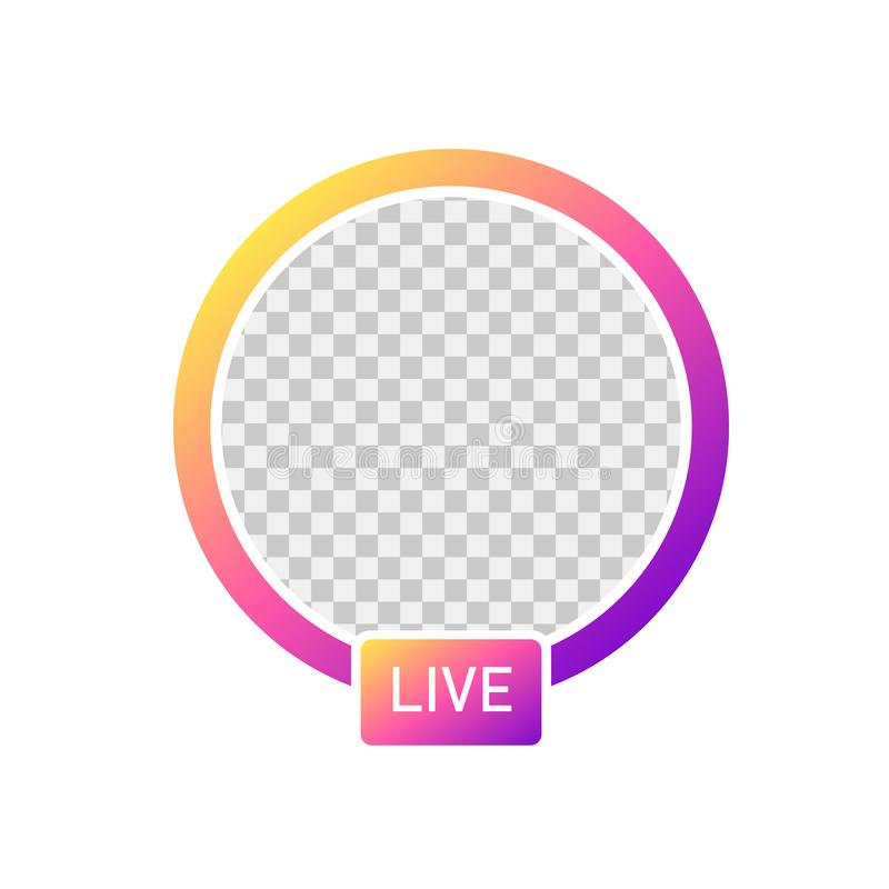 Medias sociaux Histoires d'avatar d'icône d'Instagram Vidéo VIVANTE d'utilisateur d'histoires avec le gradient coloré sur le fond illustration de vecteur