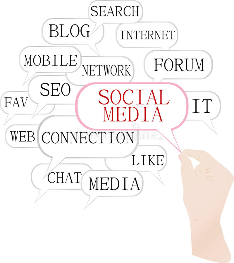 Medias sociaux lançant sur le marché - nuage de mot illustration libre de droits