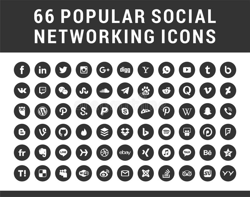 66 medias sociaux populaires, icônes réglées de formes circulaires de mise en réseau illustration stock
