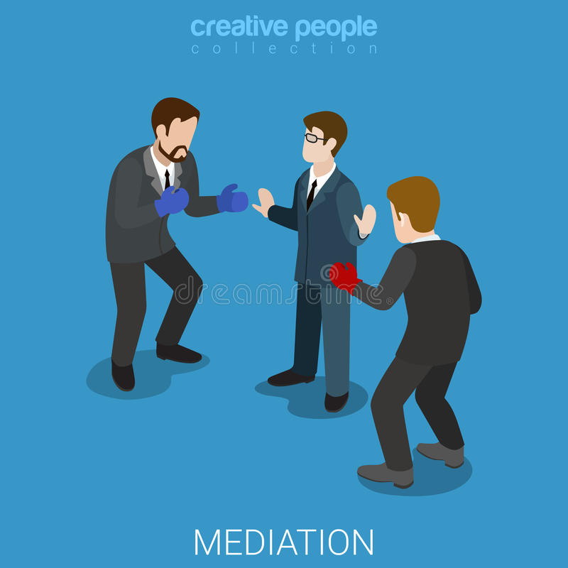 Mediation business conflict boxing flat isometric vector 3d stock illustration