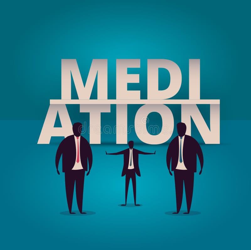 Mediation concept. Mediator assists disputing parties. Resolving stock illustration