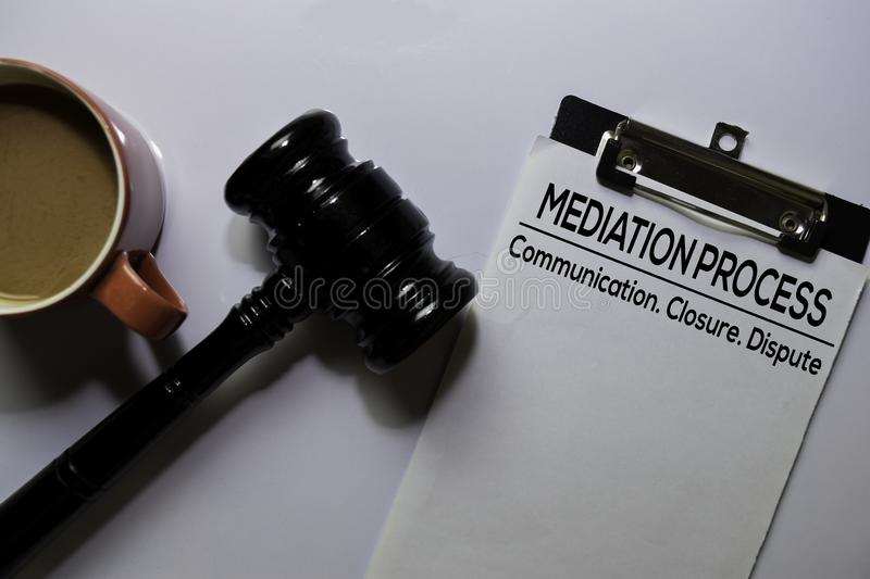 Mediation Process text on Document and gavel isolated on office desk. Law concept stock images