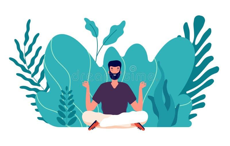Mediationskonzept Heilende Menschen, Energiebilanz und Harmonie im Leben Männlicher Zen, Gesundheit und Wohlbefinden Schwerpunkt  lizenzfreie abbildung