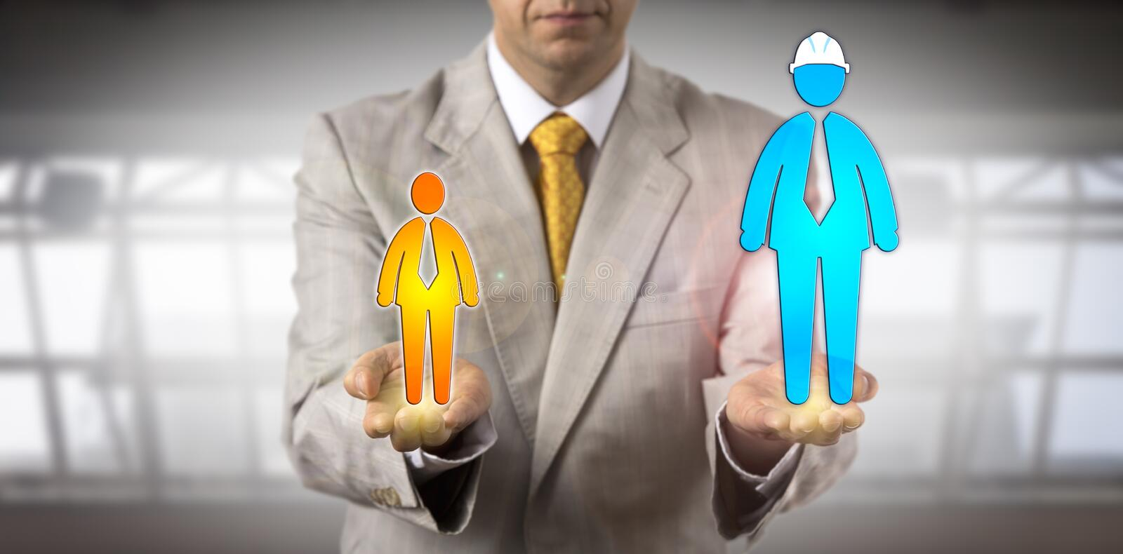 Mediator Balancing Huge Blue And White Collar. Unrecognizable mediator balancing a huge blue collar worker icon versus a smaller white collar employee. Concept royalty free stock photos