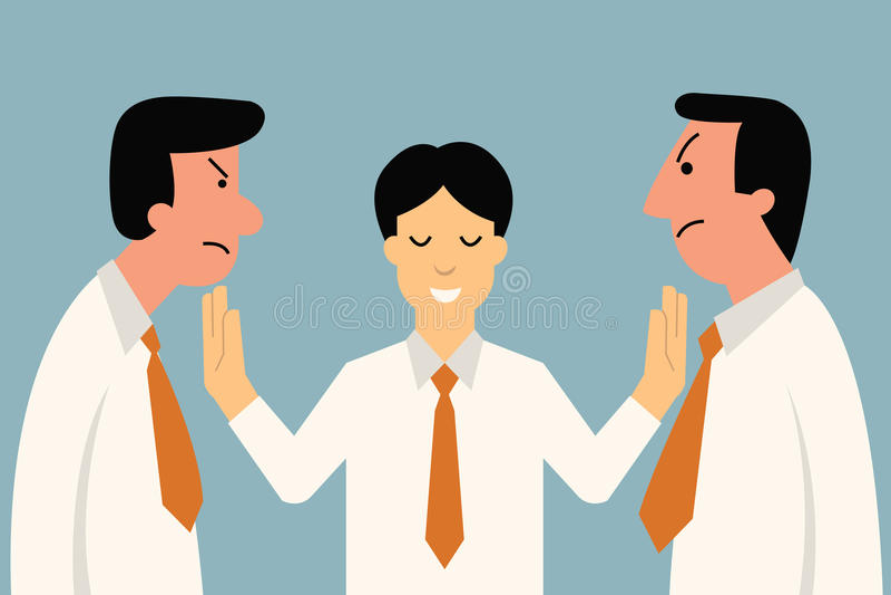 Mediator. Businessman being mediator between conflict or arguing co-worker in office
