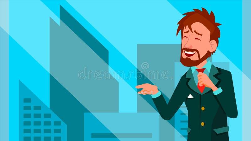Mediatore Male Vector Mediatore del mercato azionario Grafici, analisi dei dati Azione commerciali online Ufficio 21 Ufficio dei  illustrazione di stock