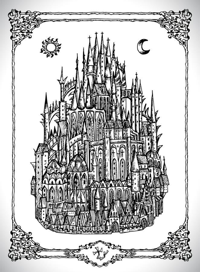 Mediaval城堡或镇有塔的 向量例证