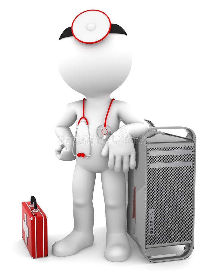 Medic with computer tower. Computer repair concept. Isolated on white background stock illustration