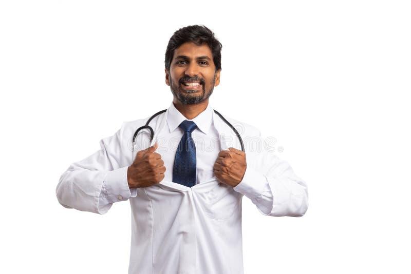 Medic doing superhero gesture royalty free stock image