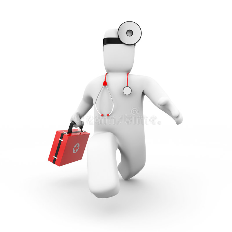 Medic hastens to the aid royalty free illustration