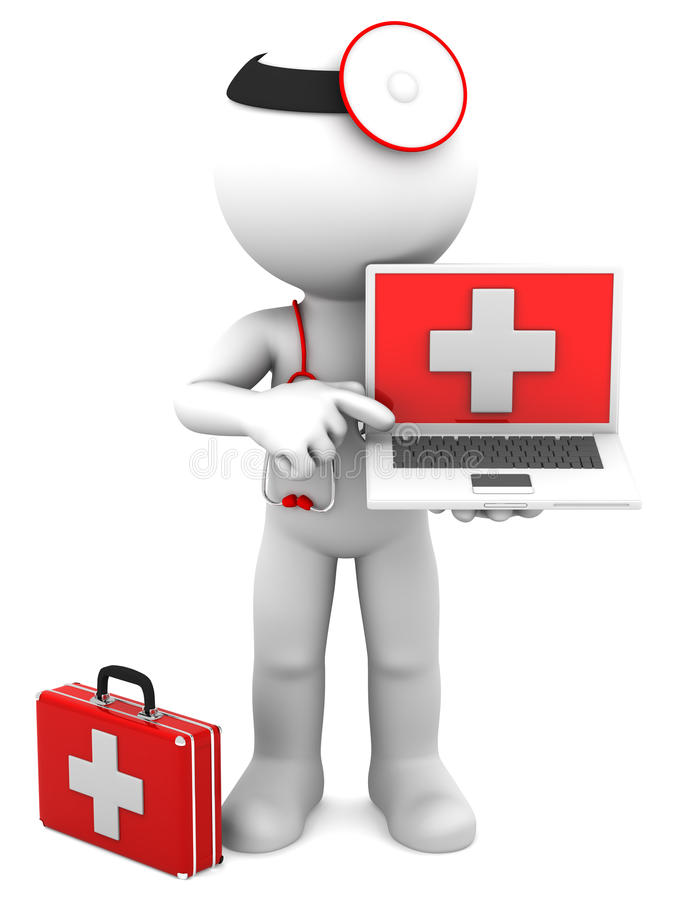 Medic With Laptop Royalty Free Stock Photo