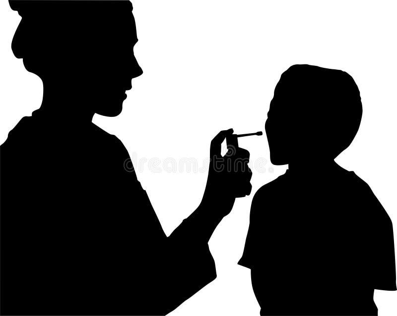 Medic procedure silhouette vector illustration