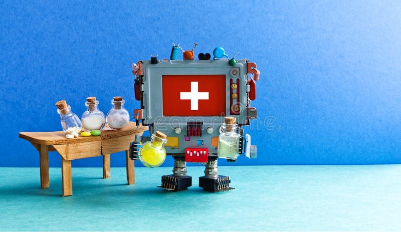 Medic robot testing experimental drugs. Pharmaceutical biotechnology laboratory interior, cyborg pharmacist computer. Analyzing pills reagents in glass bottles stock images