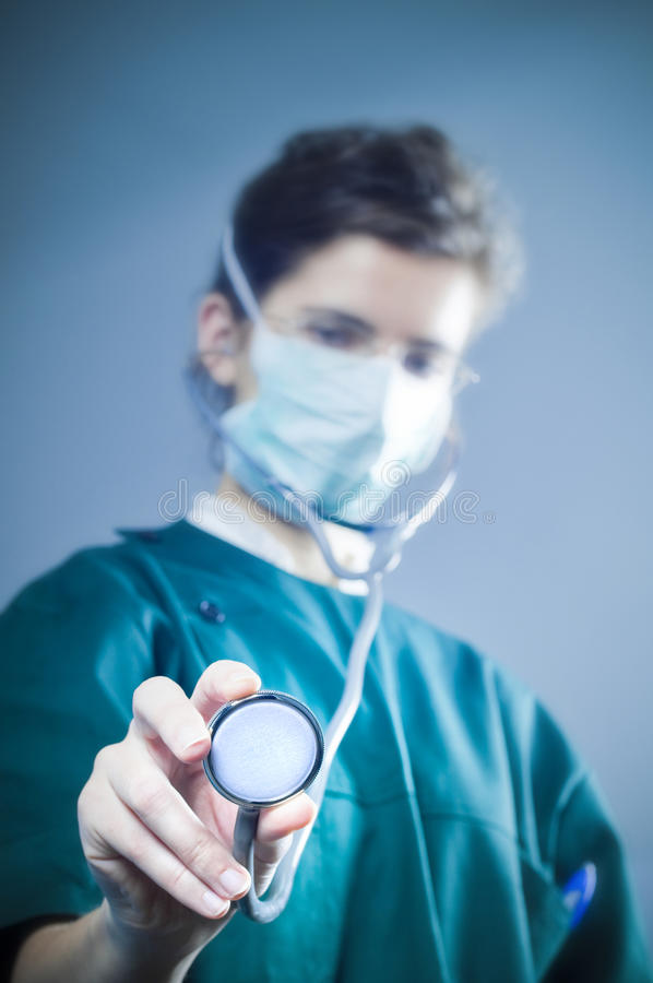 Medic with stethoscope royalty free stock images