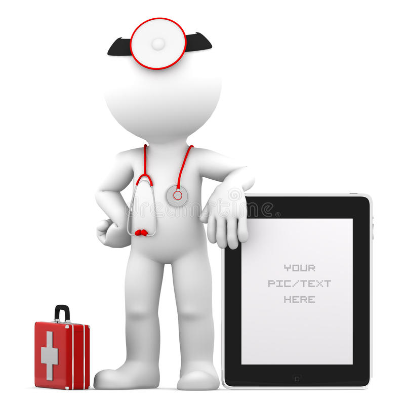 Medic with tablet computer stock illustration