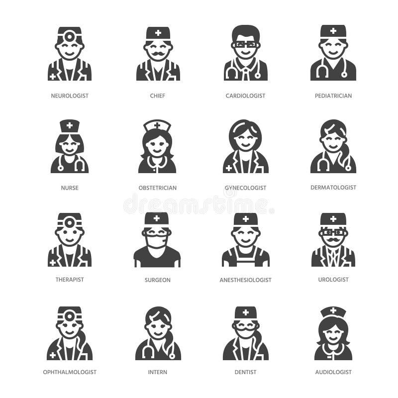 Medica ícones lisos do glyph das profissões Ocupações médicas - cirurgião, cardiologista, terapeuta do dentista, médico, enfermei ilustração royalty free