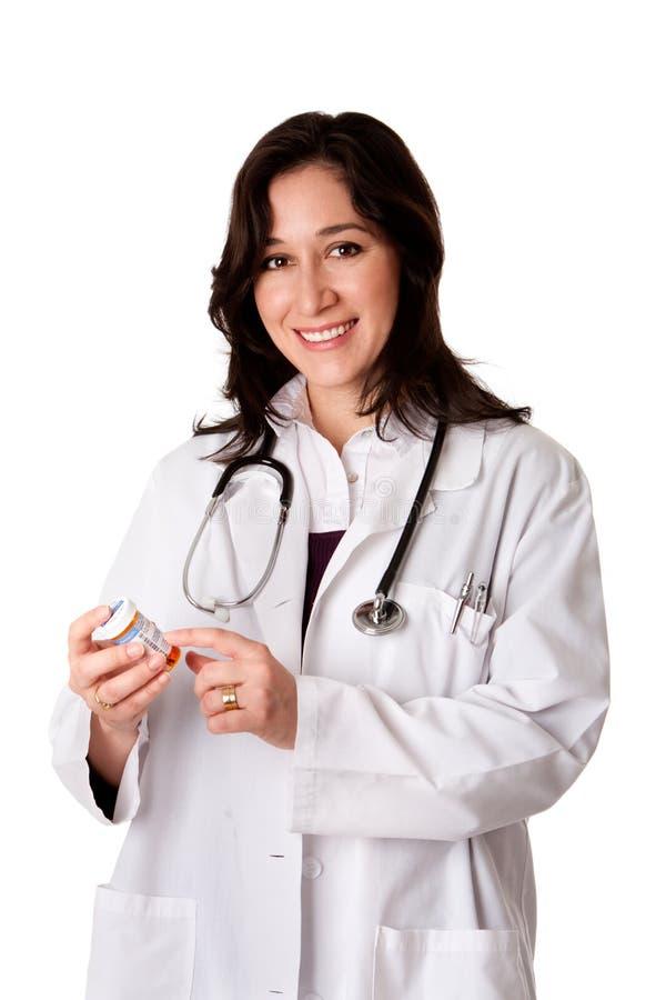 Medicación de explicación del farmacéutico del doctor imagen de archivo