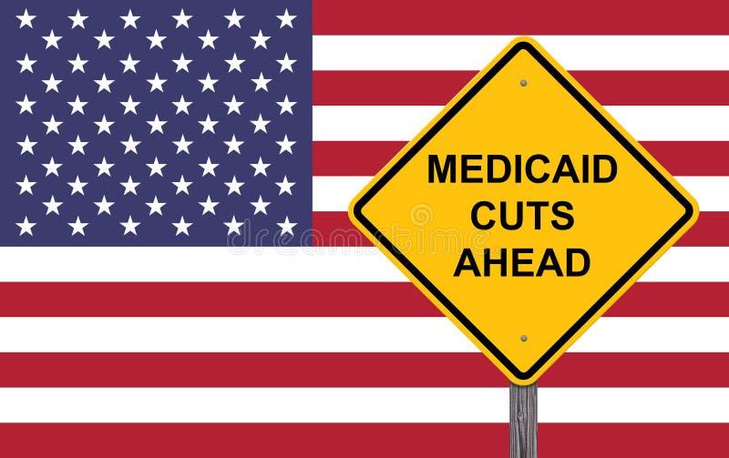 Medicaid snijdt vooruit Waarschuwingsbord royalty-vrije stock foto