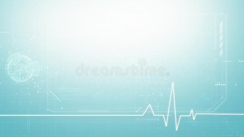 Medical abstract background, medical digital symbol graphic background. With copy space in blue tone stock illustration