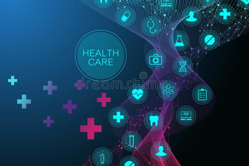 Medical abstract background with health care icon pattern. Medical innovation concept. DNA strand lines and dots, wave. Flow, DNA molecules structure for your stock illustration