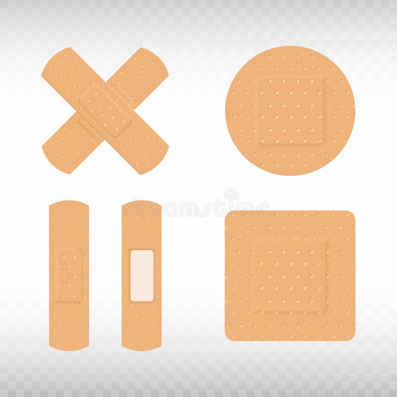 Medical adhesive plasters set on transparent background. First aid concept. Health care. Realistic medical tape,plaster, bandage, royalty free illustration