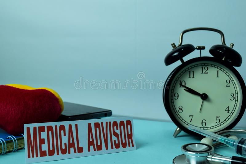 Medical Advisor Planning on Background of Working Table with Office Supplies. Medical and Healthcare Concept Planning on White. Background royalty free stock photo