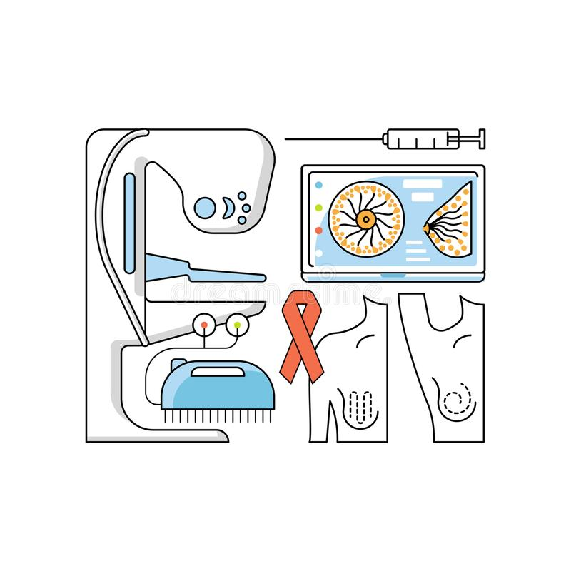 Medical aid concept. In flat line style. Mammography and breast cancer icons isolated on white background. Vector illustration eps 10 stock illustration