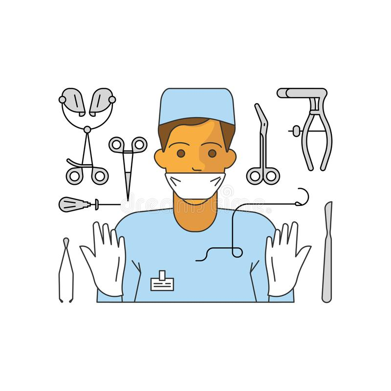 Medical aid concept. In flat line style. Surgeon and equipment isolated on white background. Surgery doctor. Vector illustration eps 10 royalty free illustration