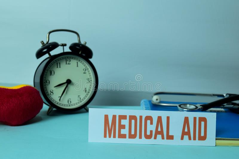 Medical AID Planning on Background of Working Table with Office Supplies. Medical and Healthcare Concept Planning on White Background stock photos