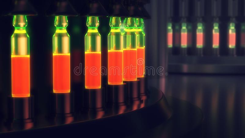 Pharmaceutical manufacturing line at pharmacy factory. 3d illustration vector illustration