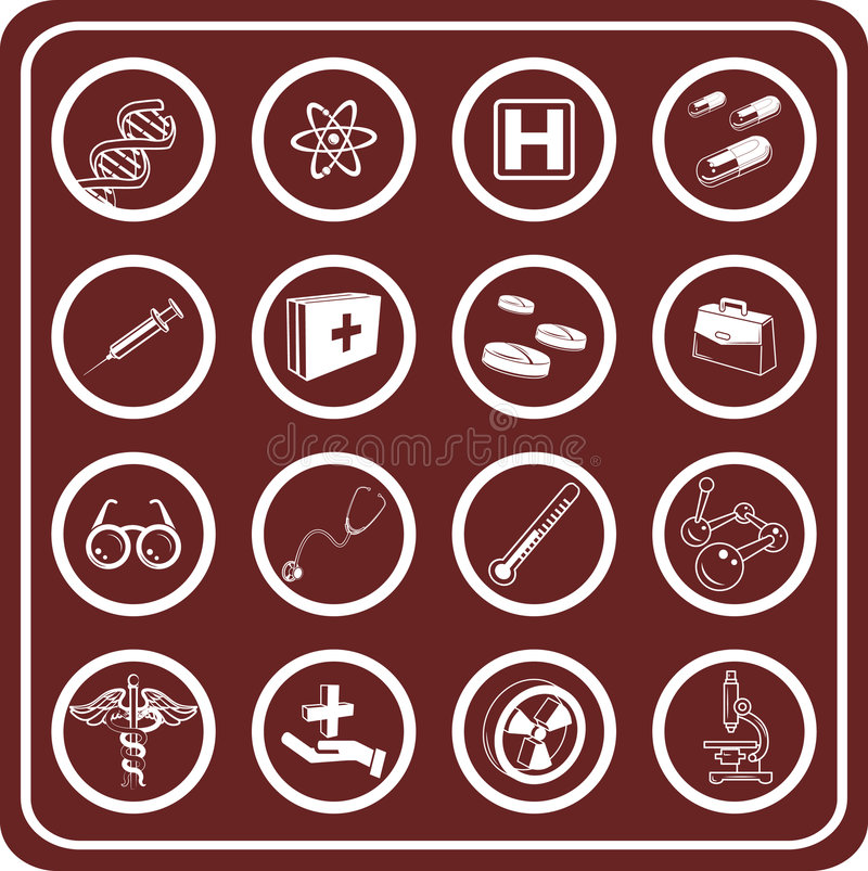 Free Medical And Scientific Icons. Royalty Free Stock Image - 895766