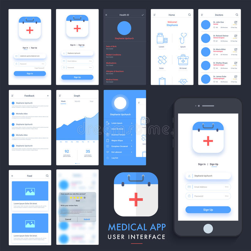 Medical App UI, UX And GUI Kit. Stock Illustration