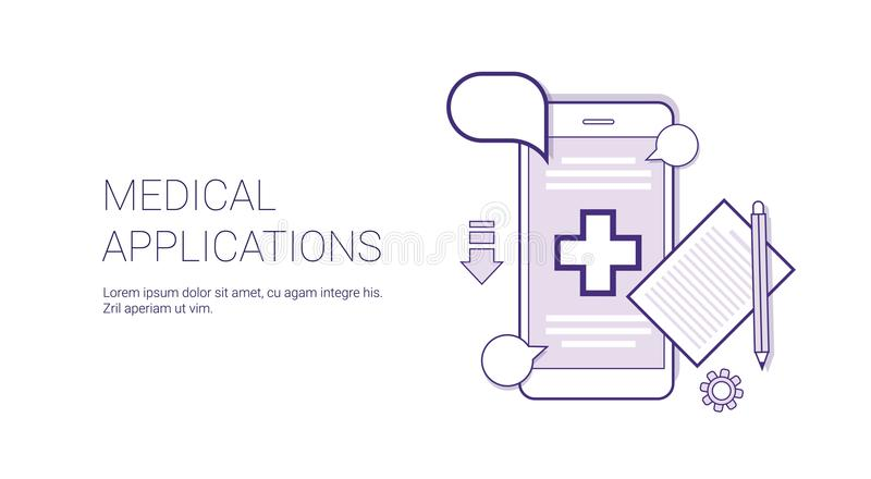 Medical Application Mobile Doctor Consultation Technology Concept Banner With Copy Space Thin Line. Vector Illustration royalty free illustration